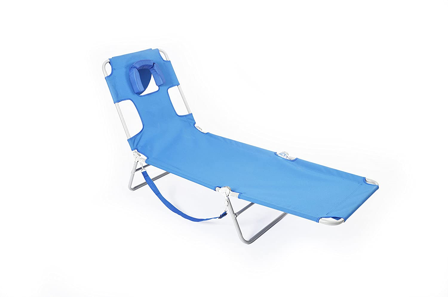 beach chair pillow with strap camping 500 lb capacity folding lounger portable storage backpack
