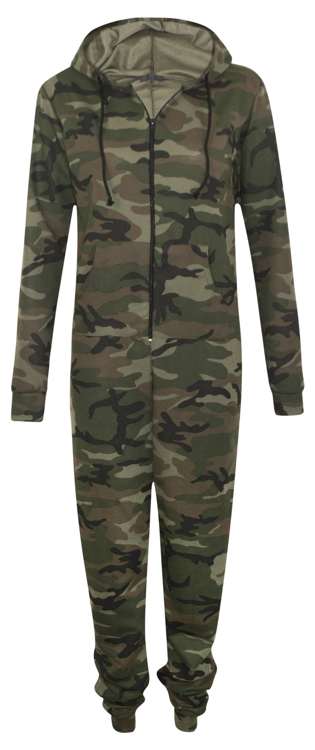 Womens Zip Up Hooded Camouflage Army Celeb Rihanna All In One Jumpsuit Onesie
