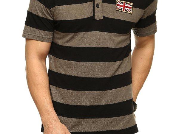 Gray Polo T-Shirt-GS816SGRYBLK