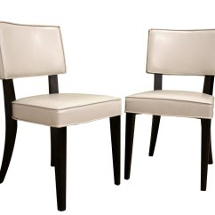 Cream Upholstered Dining Chairs Baby Lawn Chair Baxton Studio Veronica Leather