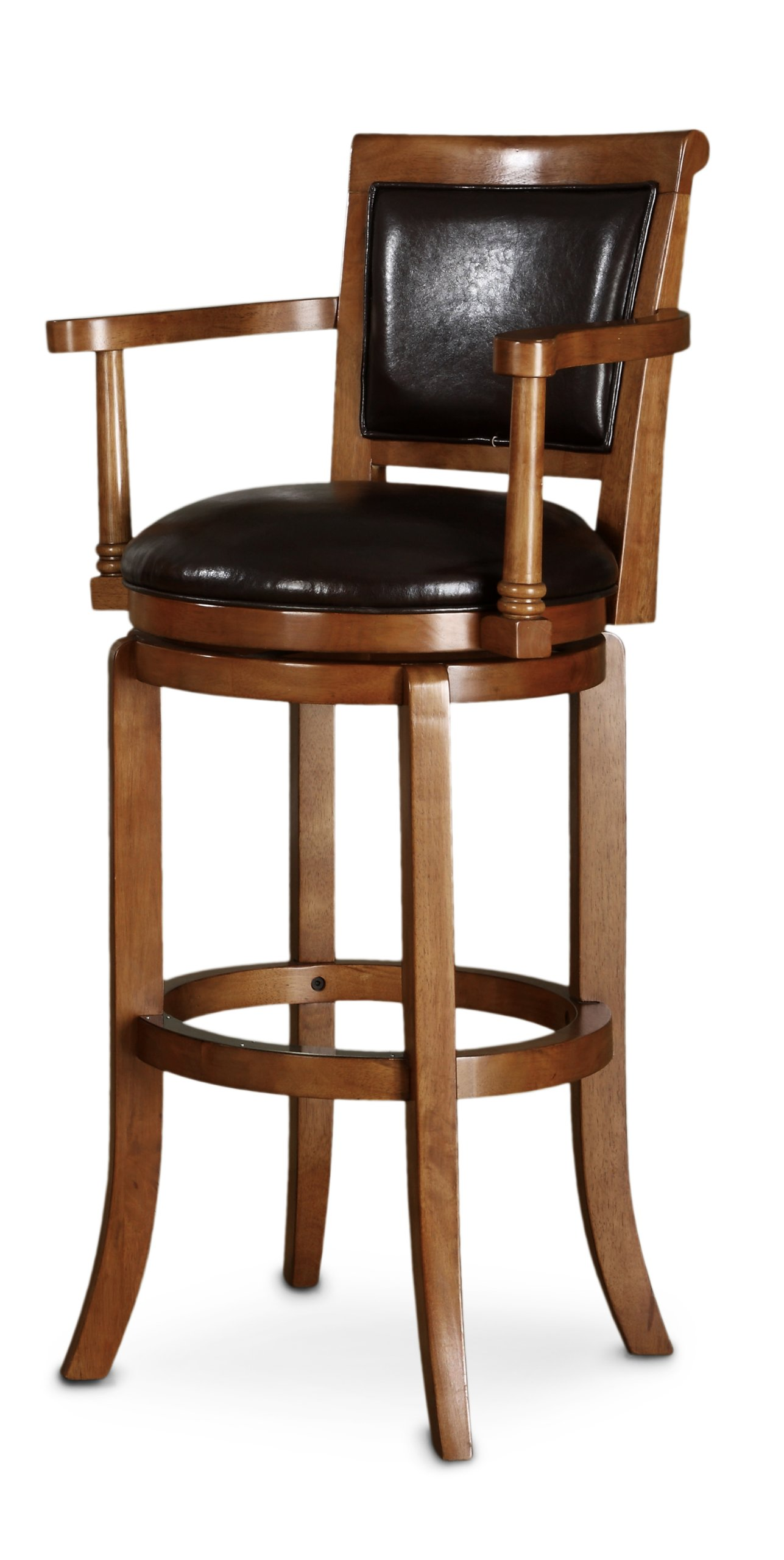 Poundex F4132 Swivel Bar Chair with Arms Brown