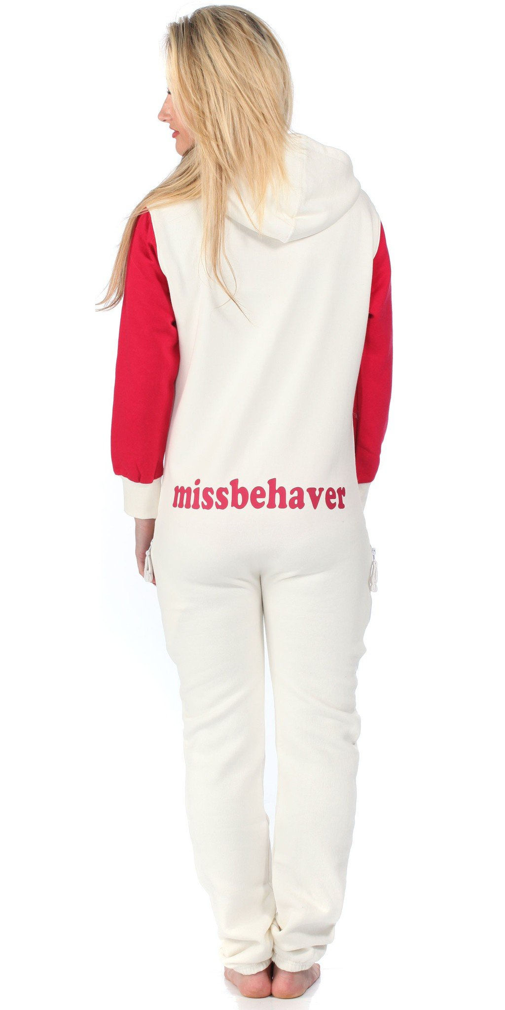 Missbehaver Original White & Pink Snug Hooded Onesie