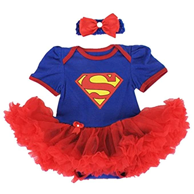 Starkma Supergirl Newborn Infant Baby Girl Set Clothe Cake Dress S01 (M(3-6 month)),White,M(3-6 month)