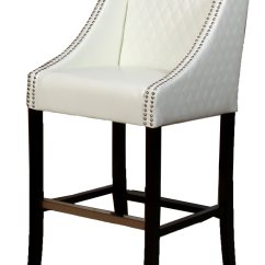 White Leather Bar Chair Coral Sashes Best Selling Milano Quilted Stool
