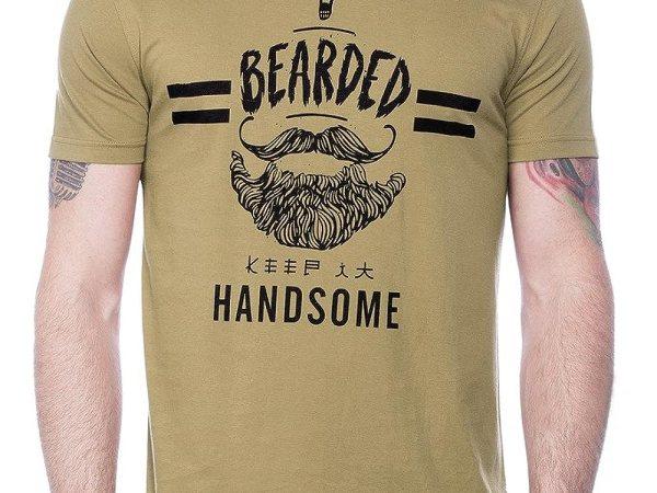 Maniac Mens Half Sleeve Brown Printed Cotton Tshirt