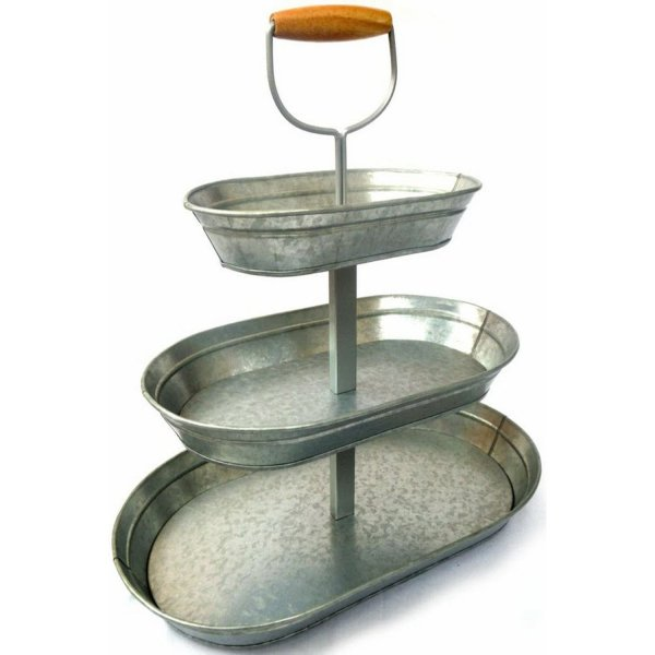 Galvanized Steel Serving Stand 3 Tier Rustic Display Bar