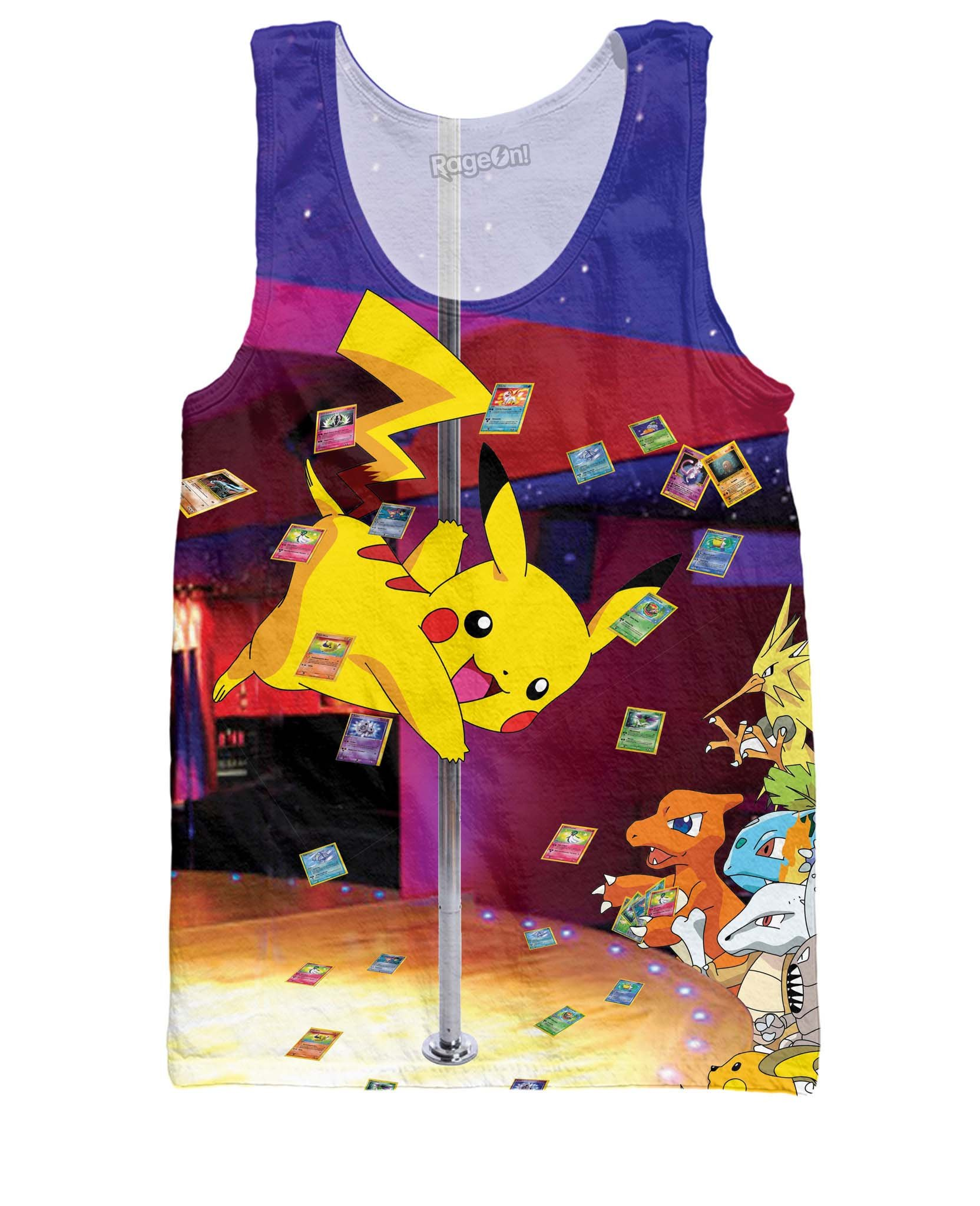 RageOn Men's Pika-Show Tank Top Pokemon Party Shirt Pikachu