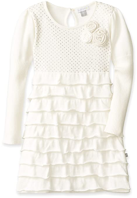 Petit Lem Little Girls' White Winter Knit Sweater Dress, Cream/Gold, 3