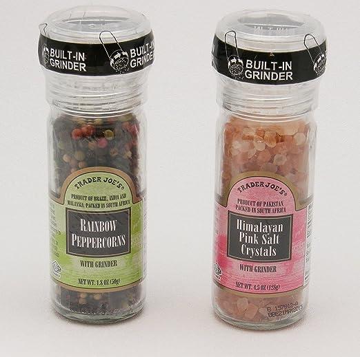 Trader Joe's Gourmet Set with Grinder Tops: Rainbow Peppercorns/Pink Himalayan Salt Crystals