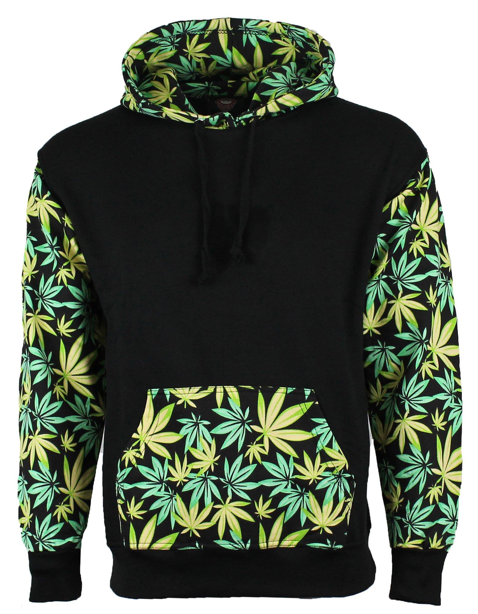 Green Leaf Weed Print Marijuana Cannabis Hooded Sweatshirt Hoodie