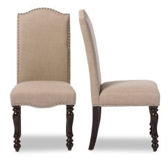 Upholstered Dining Chairs With Oak Legs Ergonomic Chair Rogan Baxton Studio Zachary Chic French Vintage Brown Beige