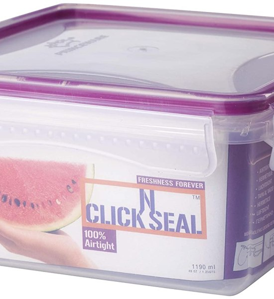Princeware Click N Seal Square Container, 1.395 Litres, Violet