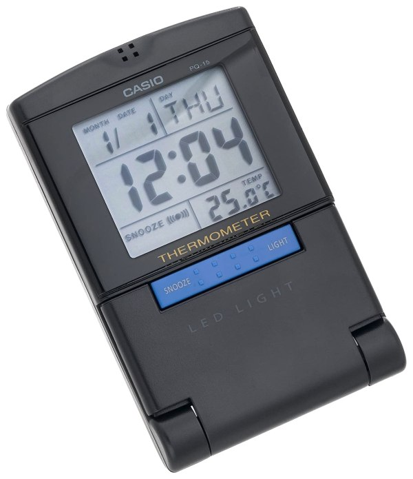 Casio Pq15-1k Travel Alarm Clock With Thermometer Free Shipping
