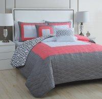 5-Piece Modern Coral Pink Grey White Quilt Set Queen Bed ...