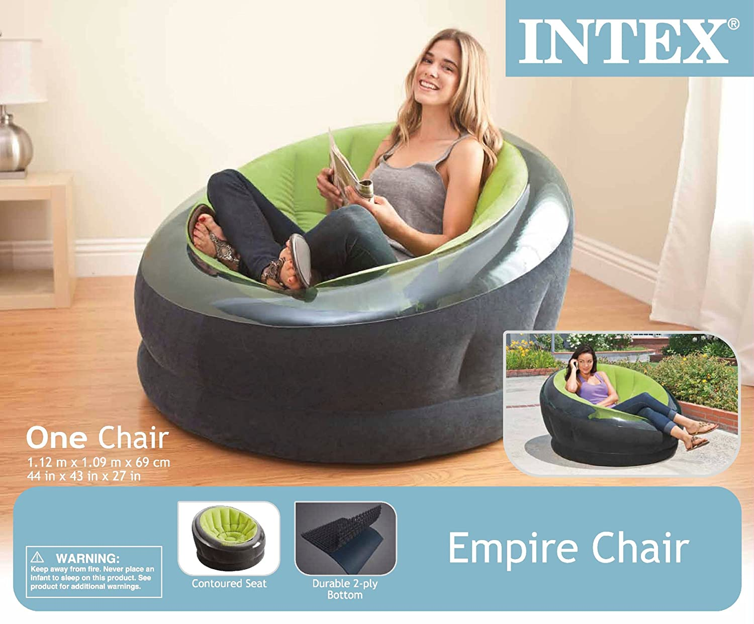 intex sofa chair leather cleaner malaysia inflatable ultra lounge air empire green color