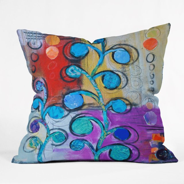 DENY Designs Elizabeth St. Hilaire Nelson Circle Trees a Throw Pillow, 16 by 16-Inch
