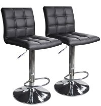 Modern Square Leather Adjustable Bar Stools with Back, Set ...