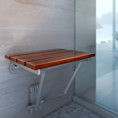 Folding Shower Chair Black And White Covers Teak Bath Seat Wood Spa Bench