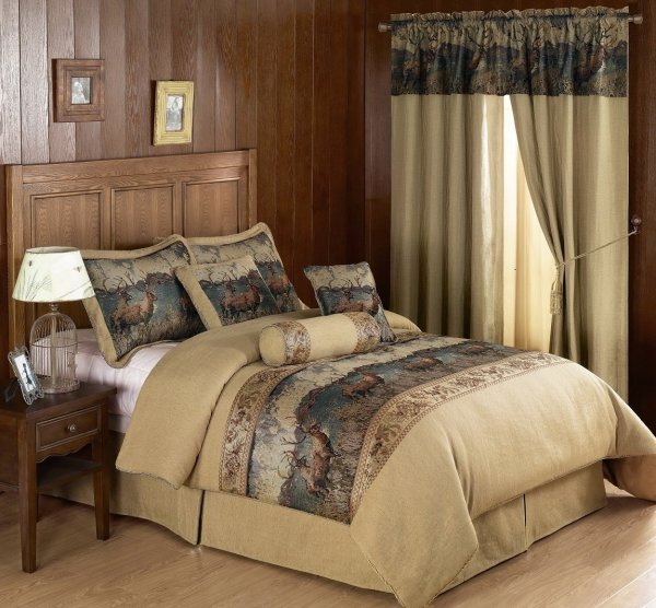 Chezmoi Collection Deerfield 7pcs Deer Tapestry Comforter