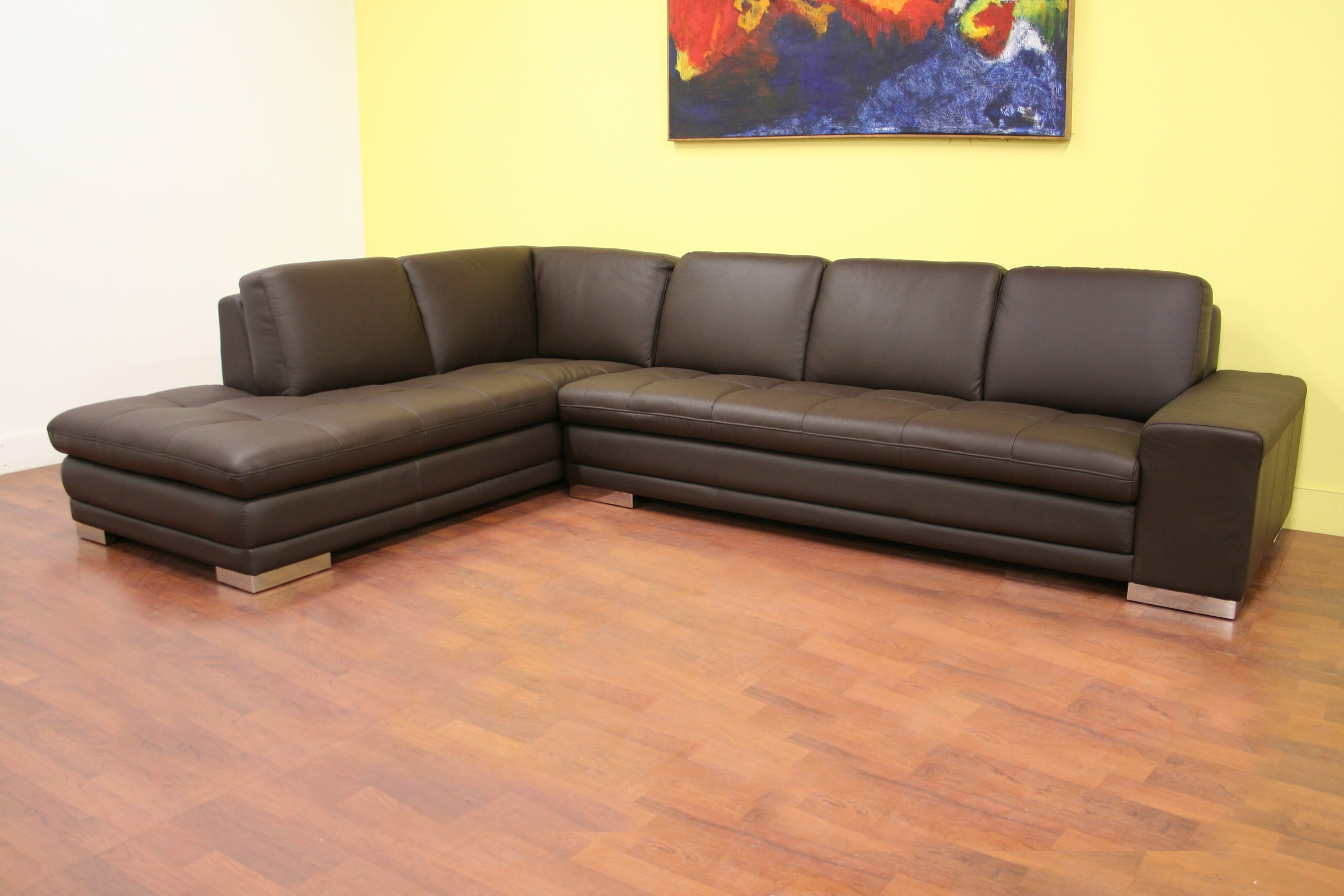 four seat sofa with chaise sectional microfiber baxton studio callidora brown leather ...