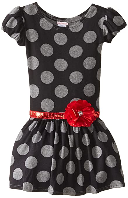 Youngland Little Girls' Dot Print Puff Sleeve Dress, Multi, 6
