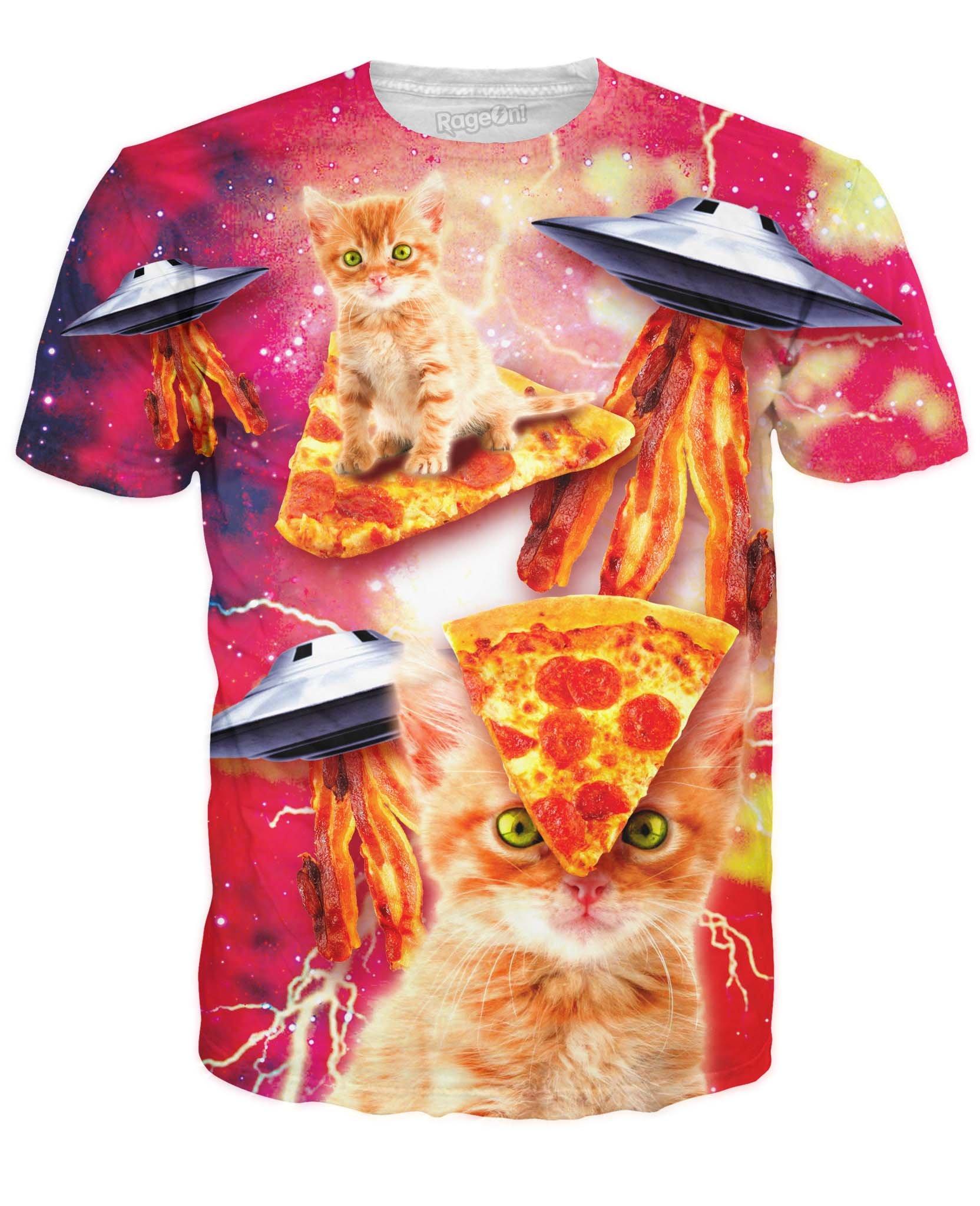 Men's Bacon Pizza Space Cat T-Shirt