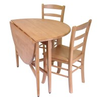 Light Oak Finish Dining Set 42 Inch Double Drop Leaf Table ...