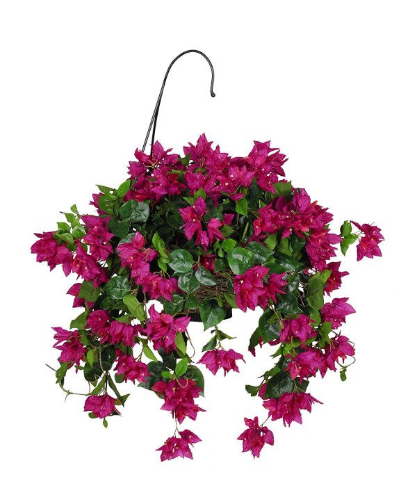 Artificial Bougainvillea Hanging Basket Fuchsia