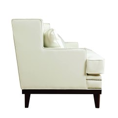 White Leather Sofa With Nailheads Soft Line Review Modern Bonded Nailhead Trim Detail