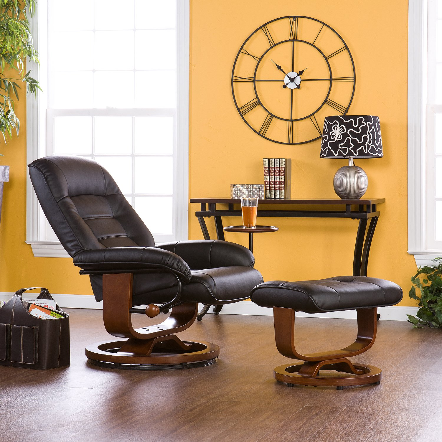 office chair with ottoman events nationwide covers adjustable black leather recliner and