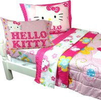 NEW HELLO KITTY 10 PC TWIN FLOWERS COMPLETE BED SET w/ RUG