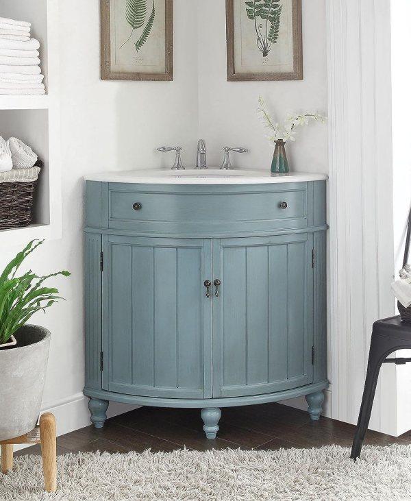 Vintage Light Blue Cottage Style Thomasville Bathroom