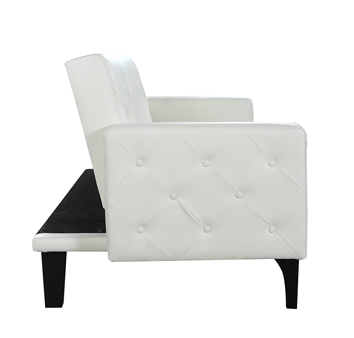white leather sofa with nailheads sectional recliner sofas chaise modern tufted bonded sleeper futon