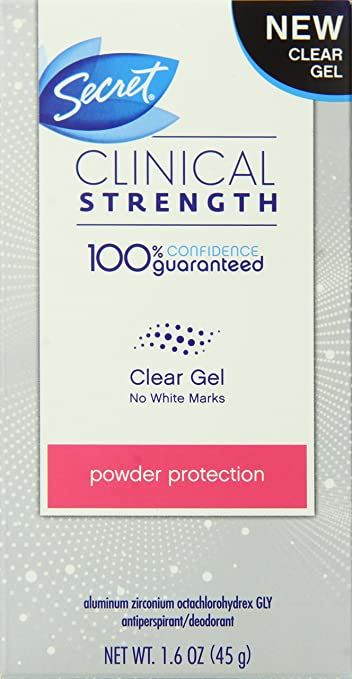 Secret Clinical Strength Clear Gel Women's Antiperspirant & Deodorant Powder Protection Scent 1.6  Ounce
