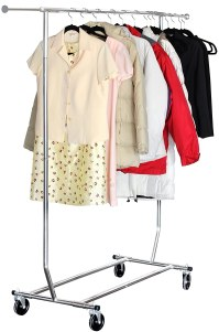 Rolling Garment Rack Clothes Hanger Closet Organizer Steel ...