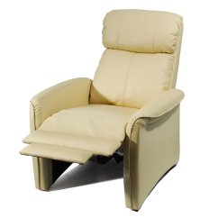 Ivory Leather Office Chair Orange Club Home Soft Pad Recliner 3 Positional Cozy