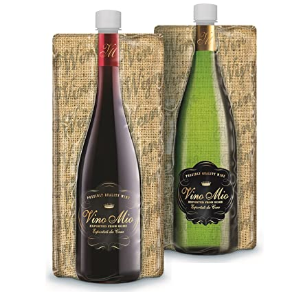 Vino Mio Foldable Wine Bottle (SET of 2) - Collapsible, Foldable and Lightweight - 750ML Wine Pouch