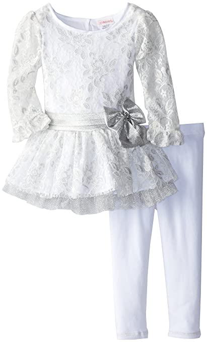 Youngland Little Girls' Lace Peplum Legging Set, Silver, 2T