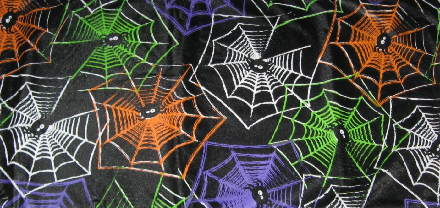 Halloween Spiders Webs Black Orange Green Purple White Vinyl Tablecloth (60 Inch Round)