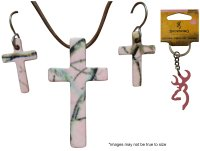 Realtree Pink Jewelry Cross & Earring Set + Bonus Browning