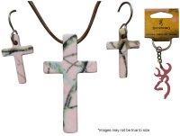 Realtree Pink Jewelry Cross & Earring Set + Bonus Browning ...