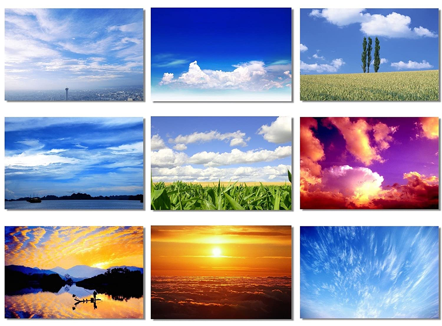 9x Poster Sky Air Cloud Sea Nature Office Room Toilets Decorate Wall Beautiful Scape Landscape View Motivational Prints