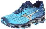 Mizuno Women's Wave Prophecy 4 Running Shoe,Blue Atoll Silver,6 B US