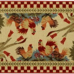 Non Slip Kitchen Rugs Blue Island Rooster Checkered Skid Mat Rubber