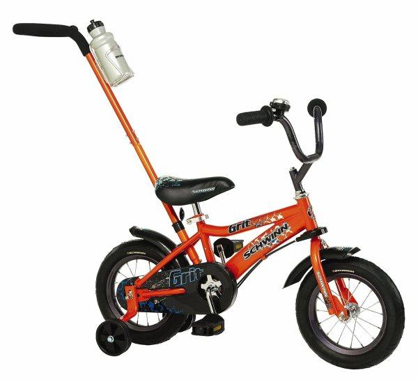 Kids Boy Bike 12 Push Handle Bicycle Children Training Wheels Fun Riding