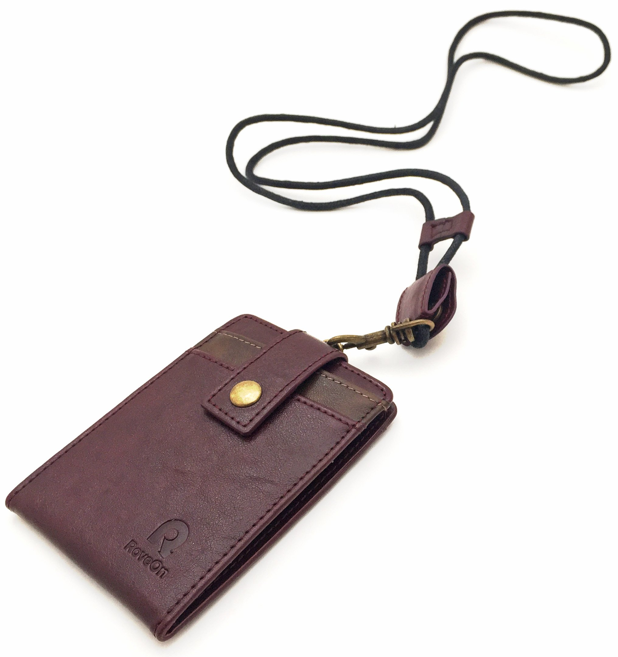 Rove On Neck Wallet ID Badge Holder Lanyard, Burgundy