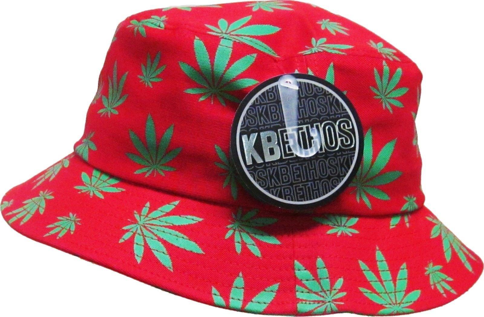 Red & Green Weed Leaf Marijuana Bucket Hat