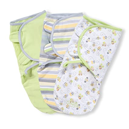 Summer Infant SwaddleMe Adjustable Infant Wrap, Busy Bees, 3 Count