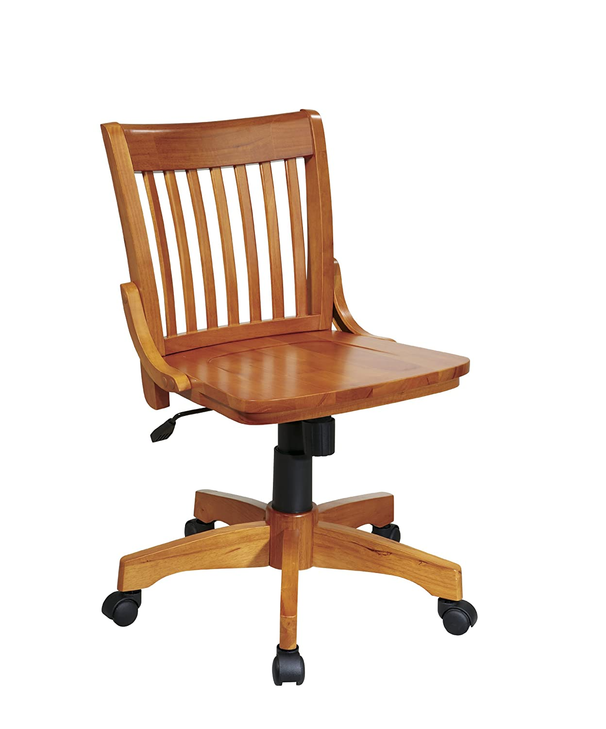 Armless Desk Chairs Deluxe Armless Wood Bankers Desk Chair With Wood Seat