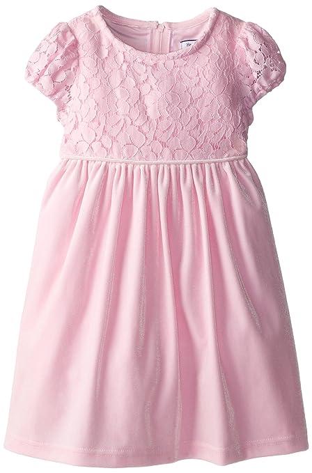 Hartstrings Little Girls' Stretch Velvet Empire Waist Dress, Carnation, 2T